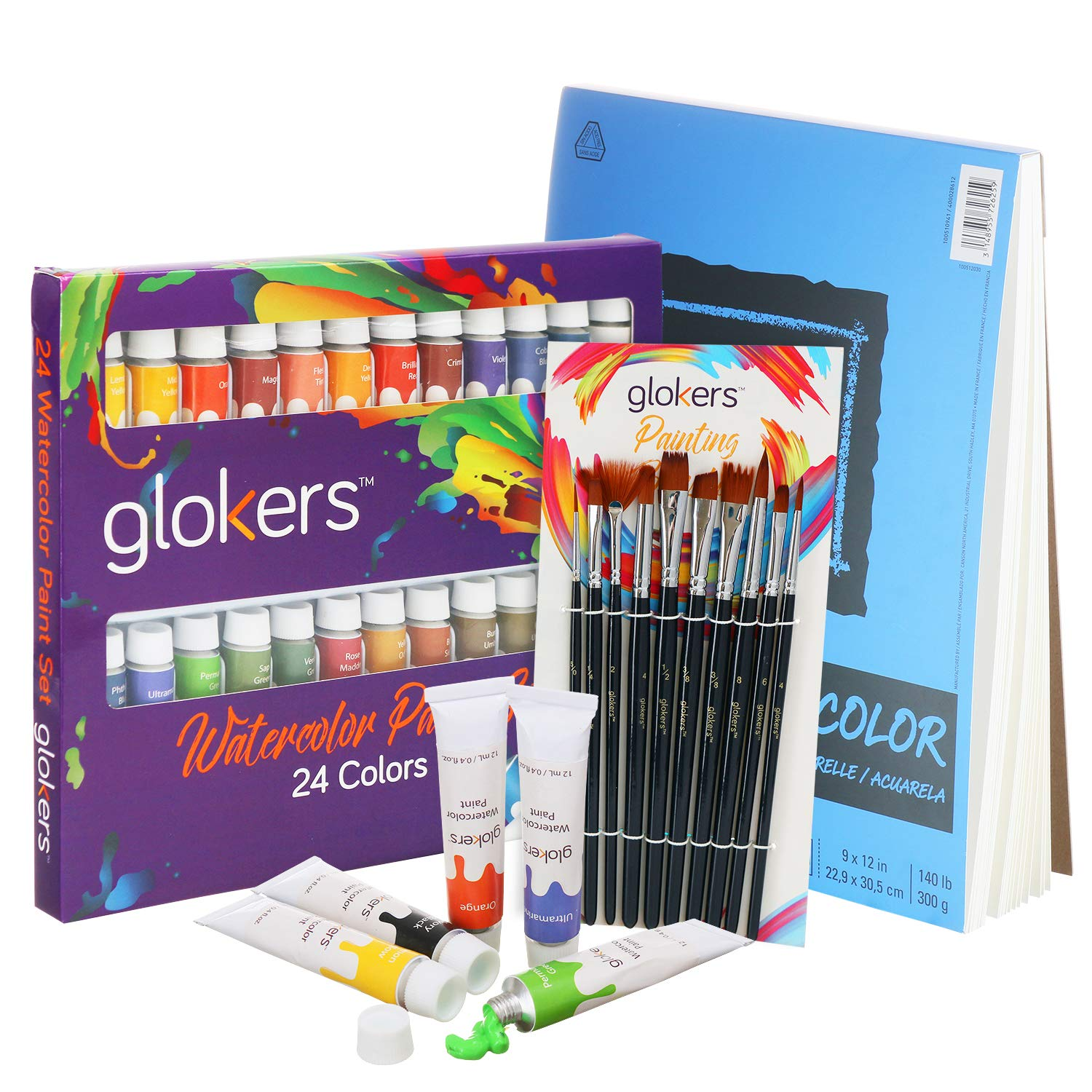 glokers Premium Watercolor Paint Set Bundle with Canson XL Watercolor Pad + 24 Paint Tubes/Colors + 10 Professional Paintbrushes | Painting Art Kit for Adults, Beginners, or Advanced Students by glokers