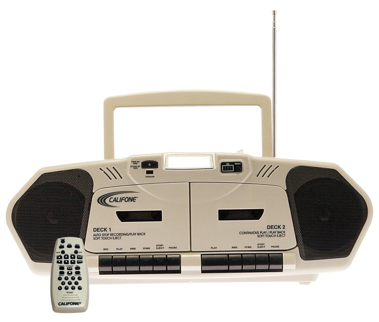 Califone 2395AV-02 Music Maker Plus Dual Cassette Recorder with CD, AM/FM, 6 Watts RMS by Califone