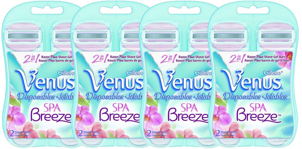 Gillette Venus Embrace Disposable Women's Razor daxZj, 2Pack (4 Count) Spa Breeze