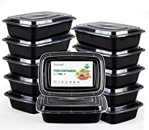 ZHUFON【10 Pack】1 Compartment Meal Prep Containers with Lids, BPA Free Lunch Boxes, Disposable Plastic Bento Boxes-Stackable, Reusable, Microwaveable & Dishwasher Safe