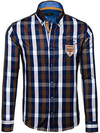 Herren Freizeithemd Herrenhemd Klassisch Kariert Hemd Slim