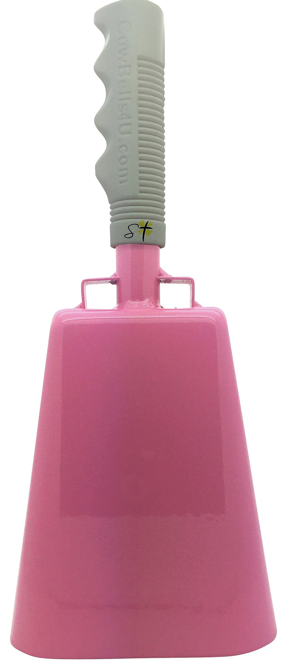11.2 inch Pink Bell White Handle Cowbell with Stick Grip Handle Used for Cheering at Sporting Events - Cow Bell by Stewart TradingTM