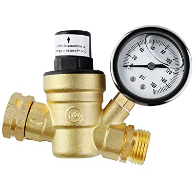 femor Brass Water Pressure Regulator, Lead Free Valve, Adjustable Water Pressure Reducer Valve for RV, Screened Filter.: Automotive