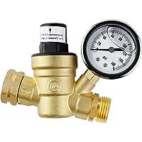 femor Brass Water Pressure Regulator, Lead Free Valve, Adjustable Water Pressure Reducer Valve for RV, Screened Filter.