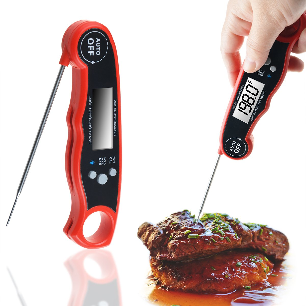 WeGuard Cooking Thermometer Instant Read Digital Meat Portable Size Food, Red