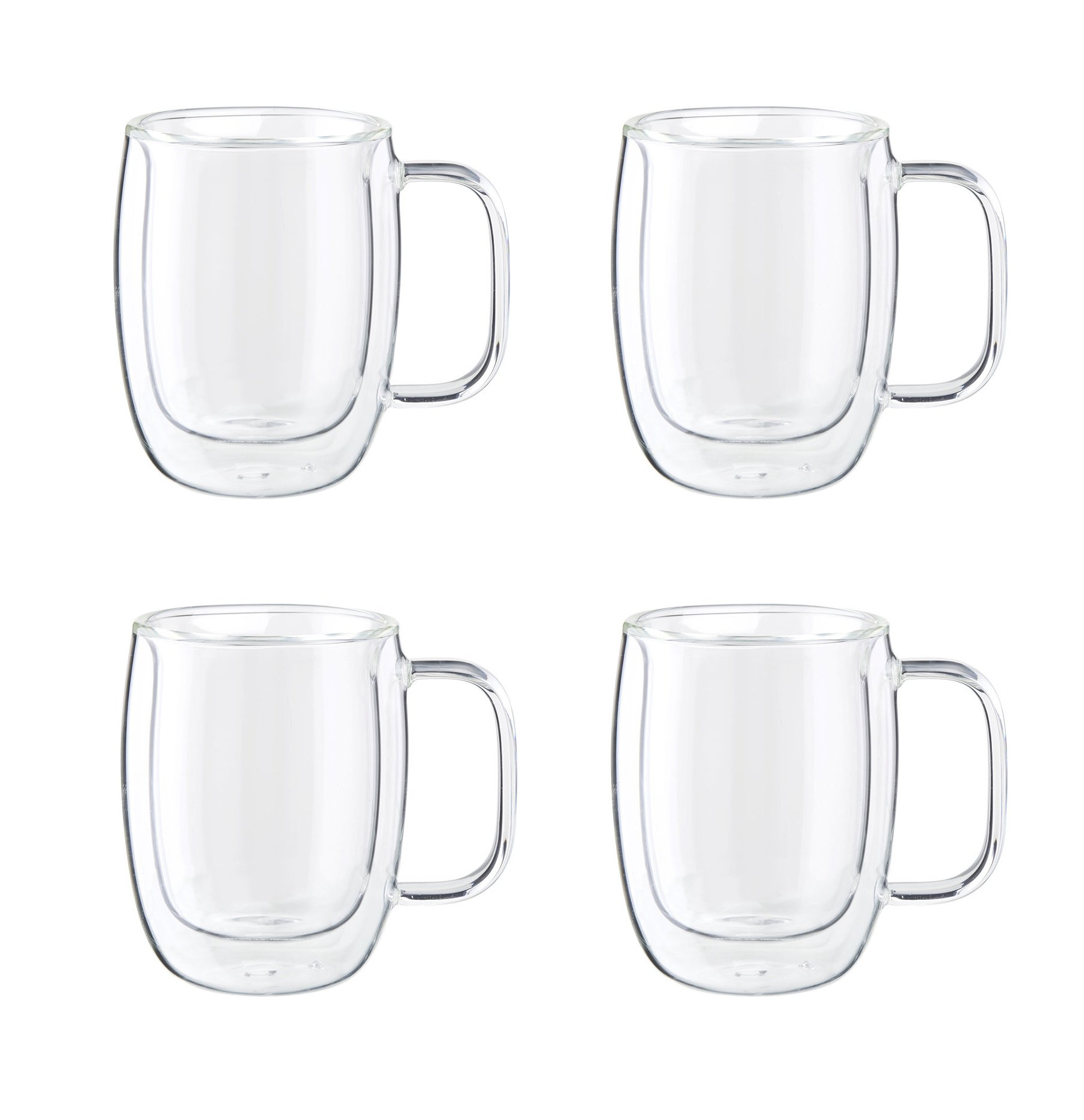 Zwilling J.A. Henckels Espresso Glass Mugs, 4.5 oz, Set of 4 , Clear With handle