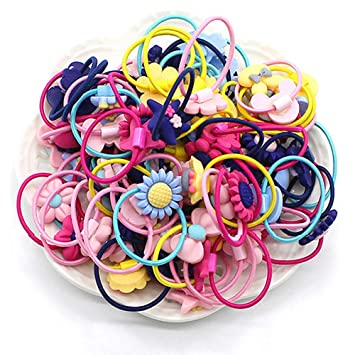 Beads Ties Hair Rope Band Summer 5 PCS//pack Hairbands Elastic Ponytail Holder