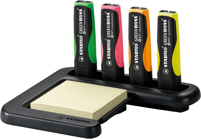 gr/ün orange Umweltfreundlicher Textmarker 4er Tischset STABILO GREEN BOSS rosa gelb
