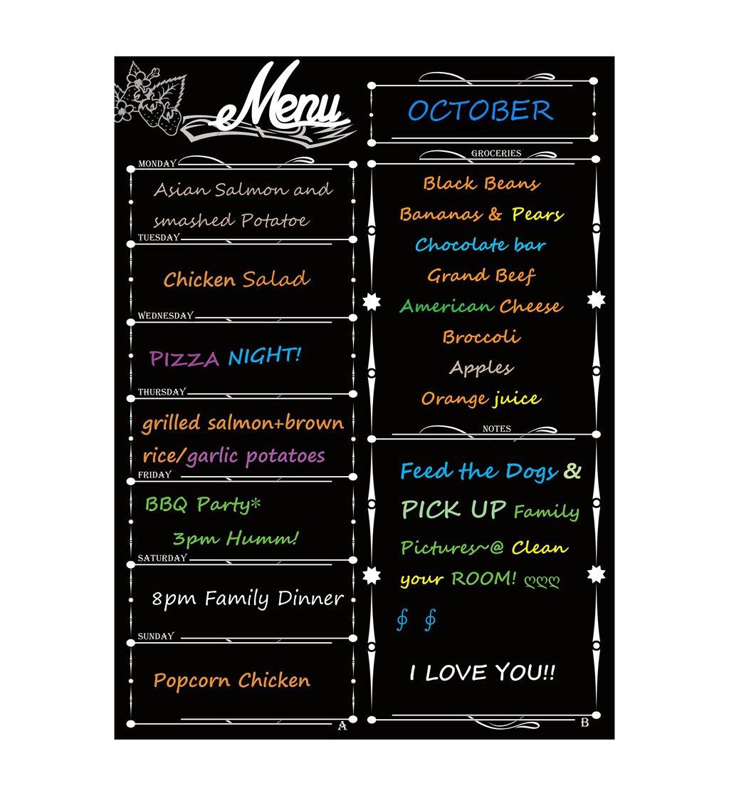alaman Calendario settimanale magnetico, frigorifero del calendario lavagna magnetica con planning settimanale famiglia Menu Planer con la lista della spesa e note musicali 41x 31cm (Nero)
