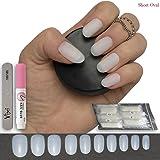 100 unghie finte ovali corte in 10 misure, naturali, opache, per uso professionale e nail art fai-da-te, con colla e piccola lima incluse