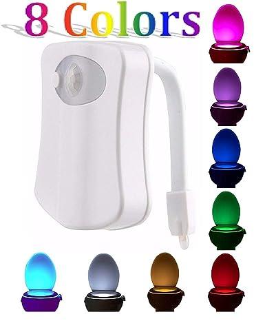 Luz nocturna para inodoro cuenco, pdworld LED Sensor Movimiento Activado baño luz funciona con pilas