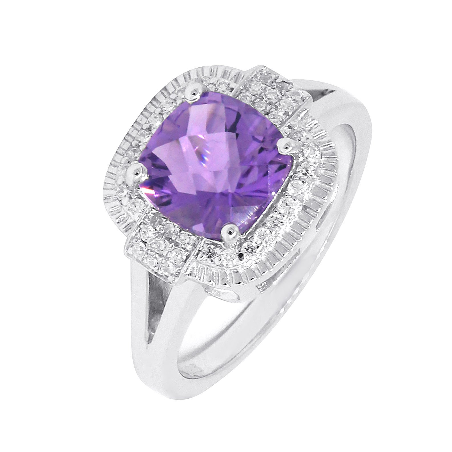 Vintage Style Sterling Silver Cushion Cut Natural Purple Amethyst Statement Halo Ring (2 C.T.T.W)