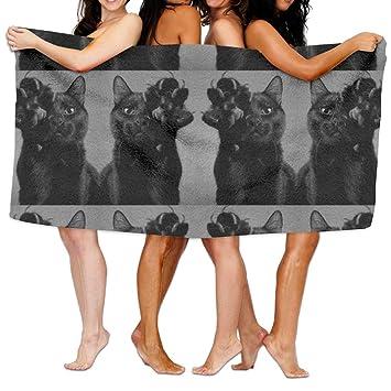 DYOW Towel Toalla de playa para natación, surf, gimnasio, spa, 80 cm x 130 cm, muy absorbente, diseño de gatos negros: Amazon.es: Hogar
