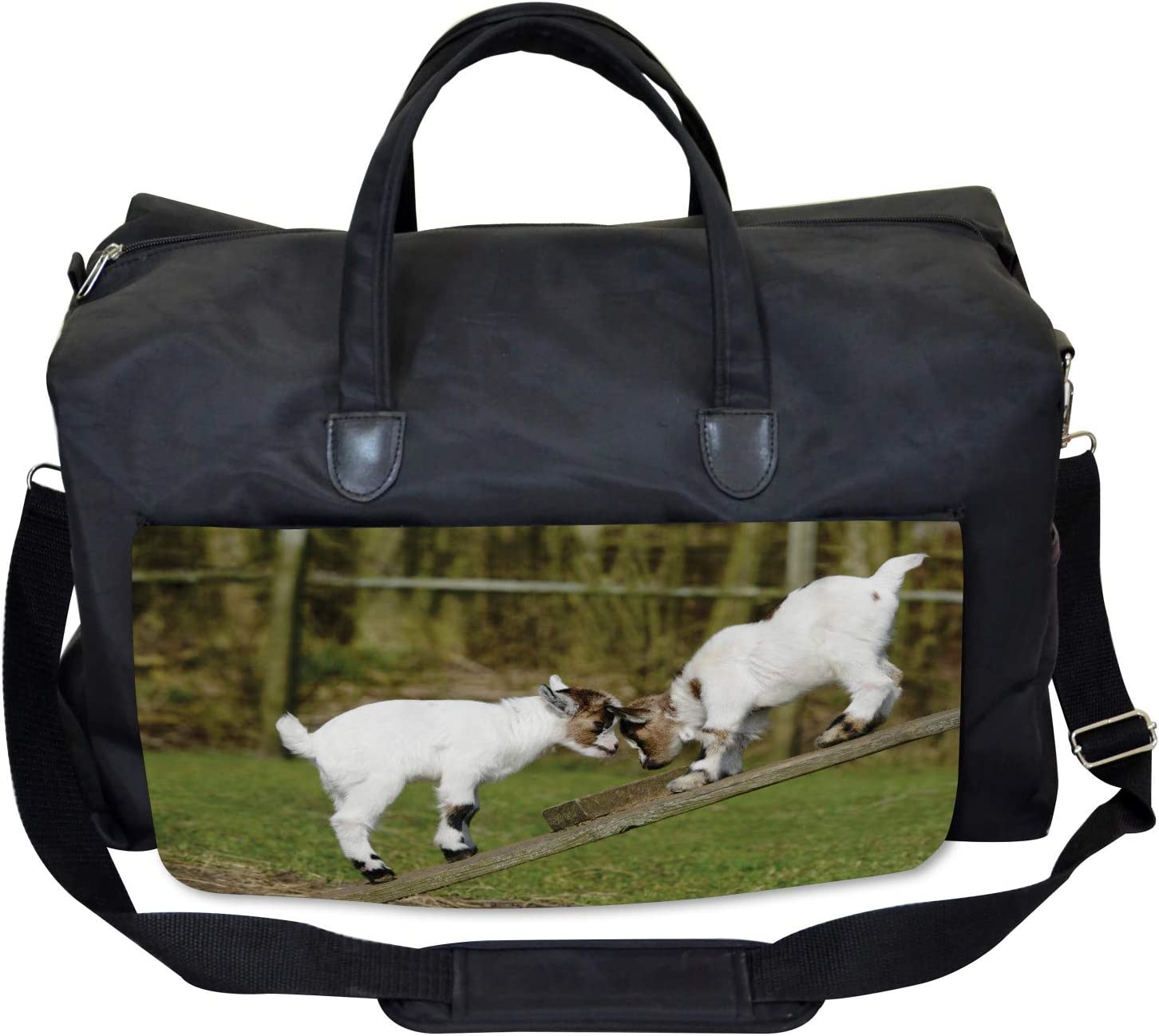 Large Weekender Carry-on Ambesonne Animal Gym Bag Farm Life with Goats