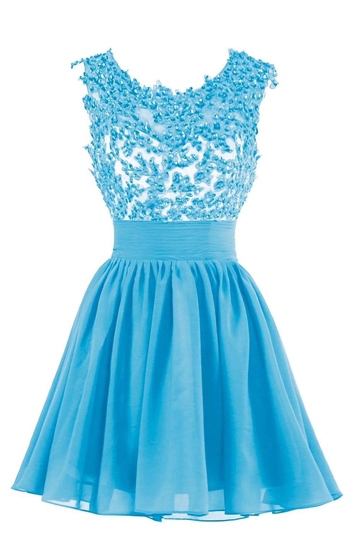 e8dd94af40d2 LaceLady Women's Short Bridesmaid Dress Lace Chiffon Prom Dresses 2017 at  Amazon Women's Clothing store: