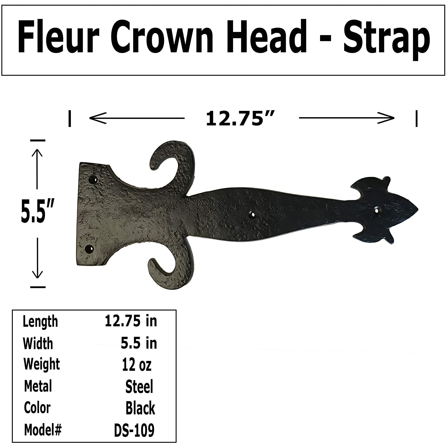 - DS-109 Fleur di lis Crown Head Decorative Iron Strap Antique Style Iron Strap for Doors 2 12.75 -DS-109 cabinets barn Door Straps Gates