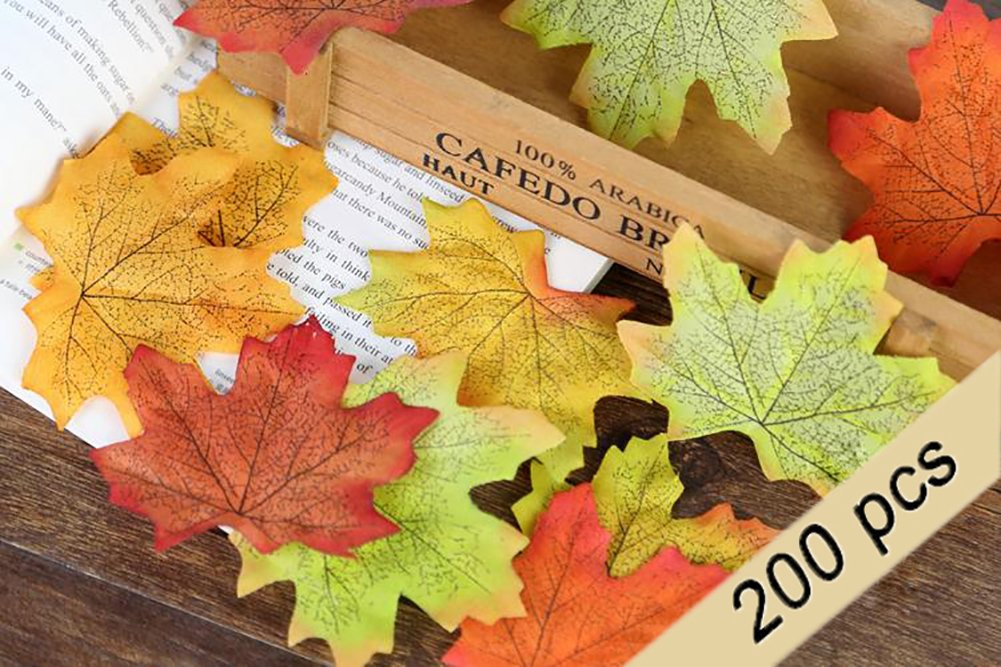 Biowow 200Pcs Mixed Artificial Fall Maple Leaves Multicolor Autumn Fall Leaves for Halloween, Fall Weddings & Autumn Parties Decoration 4336884667
