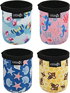 CM Soft Neoprene 7.5 Fl Oz Mini Can Sleeves Insulators Can Cooler Sleek Can Covers for Energy Drink & Beer Cans (7.5 OZ Nature Pattern (4 Pcs))
