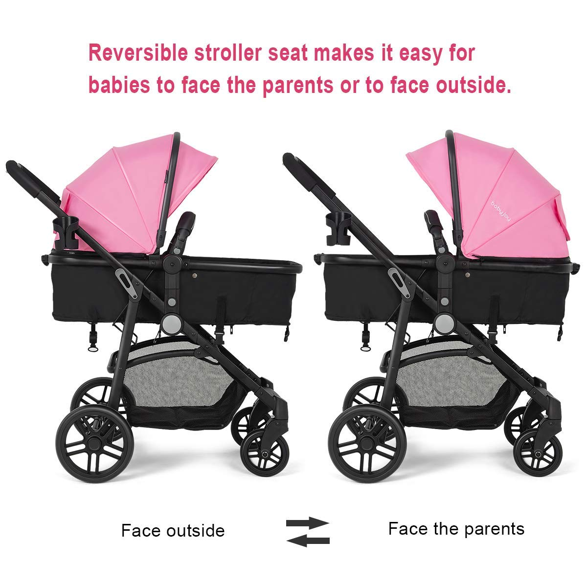 Costzon Baby Stroller, 2 in 1 Convertible Carriage Bassinet to Stroller, Pushchair with Foot Cover, Cup Holder, Large Storage Space, Wheels Suspension, 5-Point Harness (Pink Color) by Costzon (Image #2)