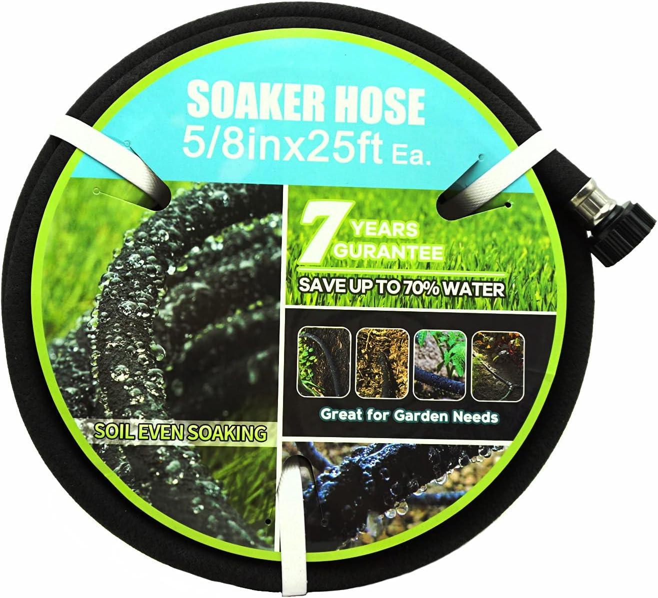 Meifeng Soaker Hose 5/8 inch Diameter 25 foot Black Garden Water Hose Flower Beds and Lawns Lightweight Porous 5/8in25ft Hose