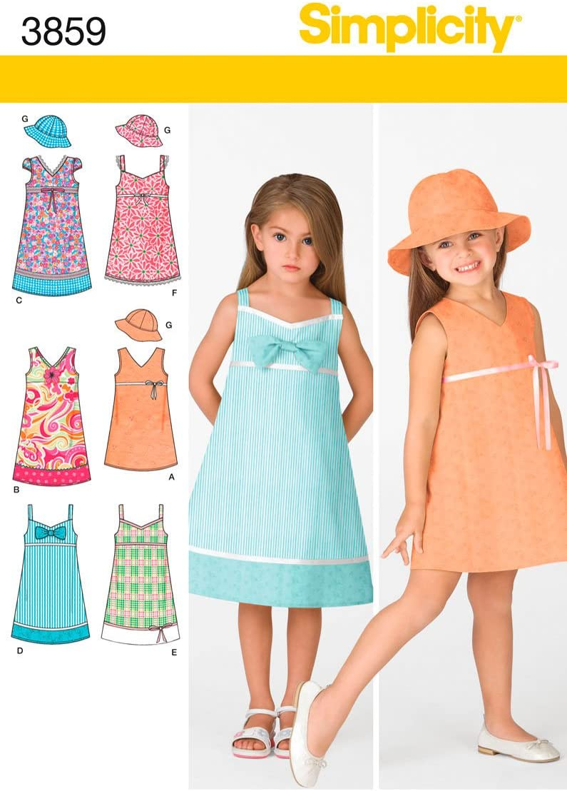 Simplicity NEW before selling Sewing Pattern 3859 A Dresses 3-4-5-6-7-8 Child Ranking TOP10