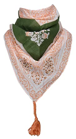 9b5b9b7c061e TigerTie dames foulard Triangle tissu dans orange vert gris à dessins -  taille 160 x 75