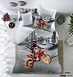 Parure de lit 3 pièces housse de couette polyester -le dessin moto 3d -1 housse de couette 200x225cm -2 taies d'oreiller.
