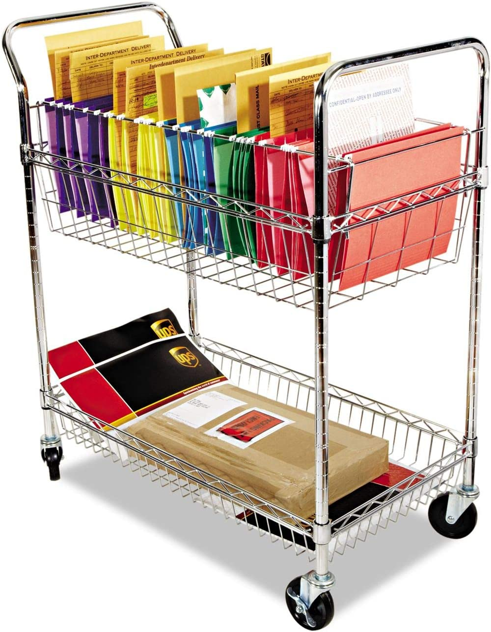 ALERA MC343722CR Carry-all Cart Mail Cart, Two-Shelf, 34-7 8w x 18d x 39-1 2h, Chrome