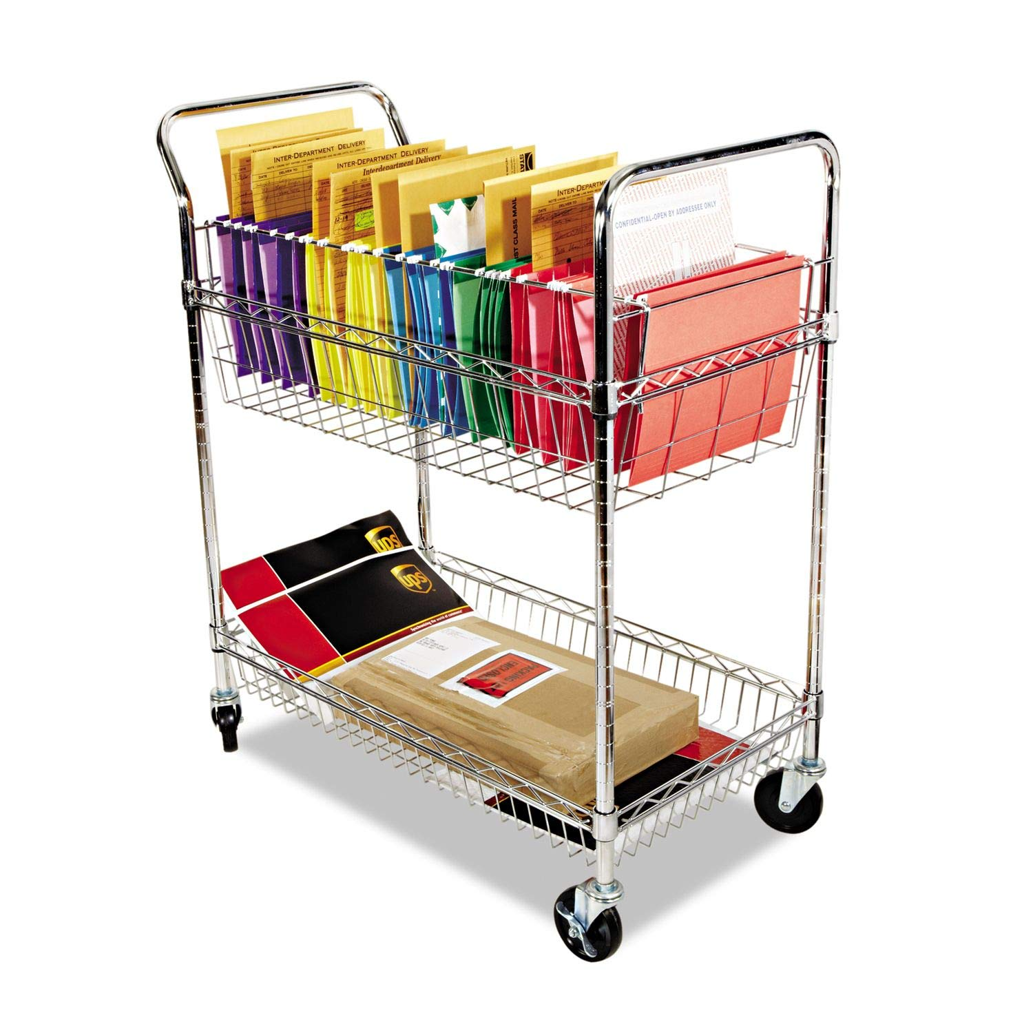 ALERA MC343722CR Carry-all Cart/Mail Cart, Two-Shelf, 34-7/8w x 18d x 39-1/2h, Chrome by Alera