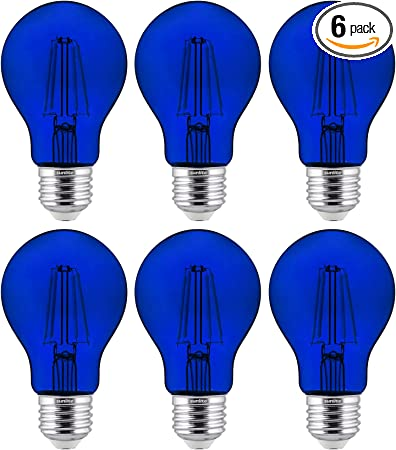 Dimmable 4.5 Watts 6-Pack Sunlite LED Transparent Yellow A19 Filament Bulbs