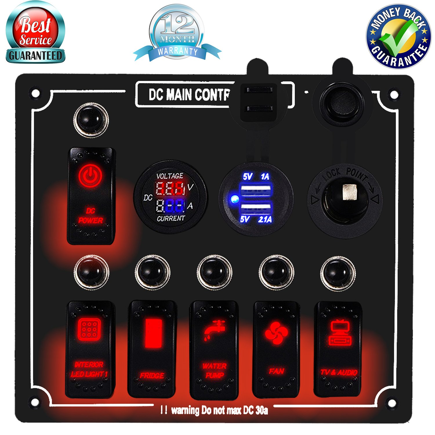 DCFlat 4/6/8/10 Gang Circuit LED Car Marine Waterproof 5 Pin Boat Rocker Switch Panel with Fuse Dual USB Slot LED Light + Power Socket Breaker Voltmeter for RV Car Boat (6 Gang Overload Protection-) by DCFlat