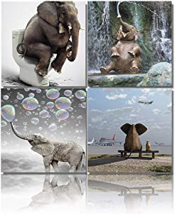 Elephant Canvas Wall Art Modern Cute Animal Picture Canvas Artwork Contemporary Wall Art for Home Decor Bedroom Living Room Decor Framed Ready to Hang, 12x12inx4