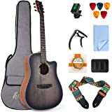 lotmusic 41 Inch Acoustic Guitar Professional Cutaway Folk Guitarra Bundle Top Spruce 6 Metal Strings with Beginner Kit (Gig