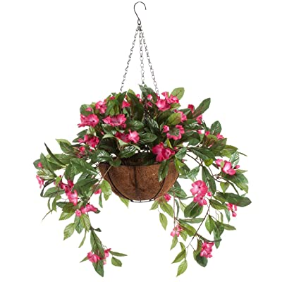 OakRidge Fully Assembled Impatiens Hanging Basket – Large Artificial Flower Outdoor or Indoor Decoration with Hook - Pink: Home & Kitchen