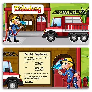 (10 X) Einladungskarten Kindergeburtstag Feuerwehr Einschulung Einladungen