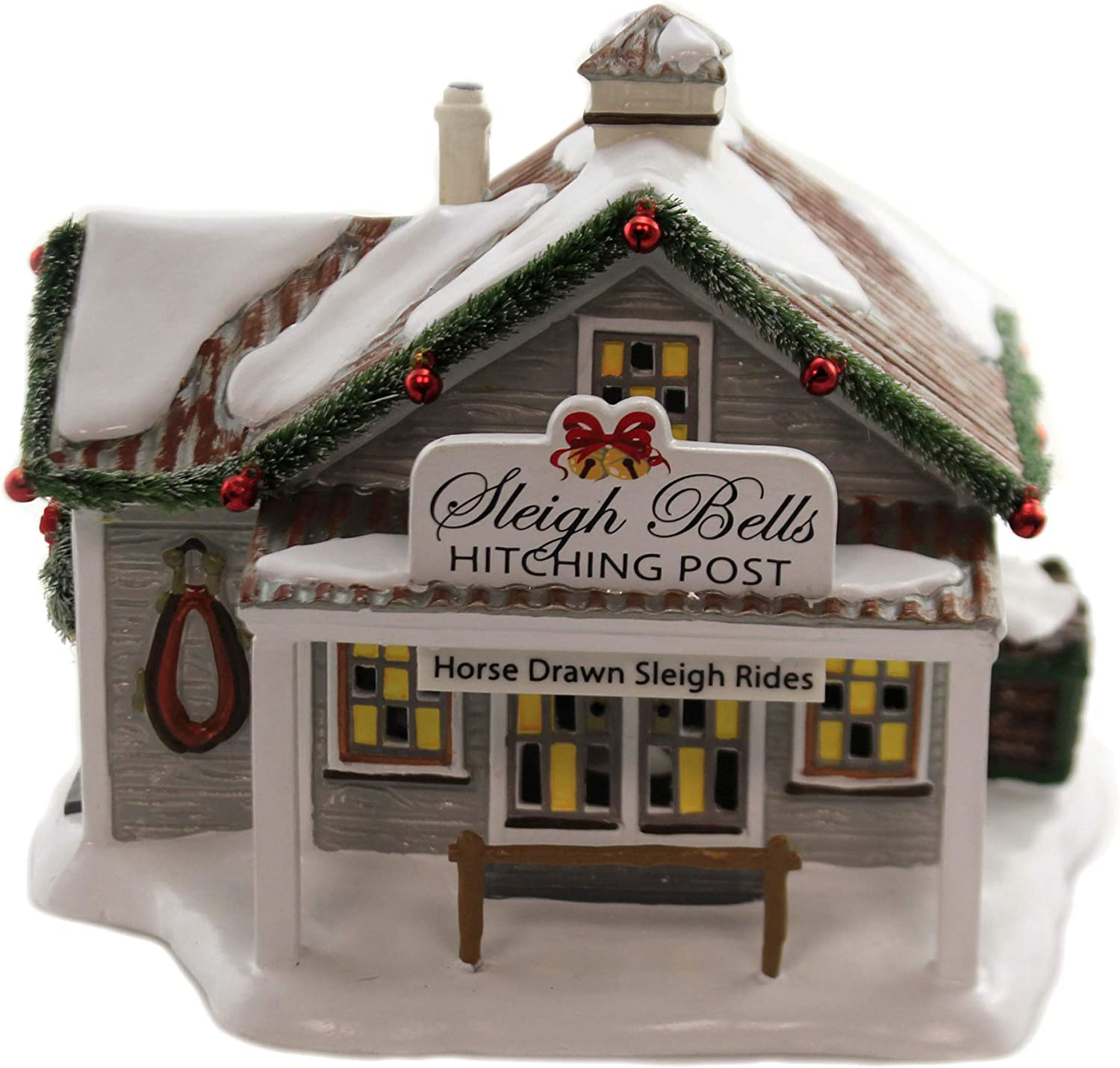 Department 56 Original Snow Village Sleigh Bells Hitching Post Lighted Building, 6.06-inch Height