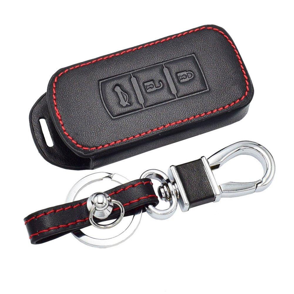 Happyit Custodia in pelle con portachiavi per Mitsubishi Outlander Lancer 10/EX Pajero sport ASX RVR L200 per chiave elettronica dell/'auto telecomando a 3 pulsanti