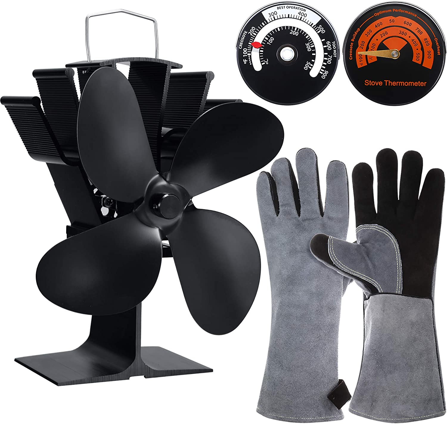 4-Blade Heat Powered Stove Fan Wood Burner Stove Fan, 2 Pieces Magnetic Stove Thermometer Stove Top Meter and Heat Resistant Stove Gloves for Gas Pellet Wood Log Burner Fireplace