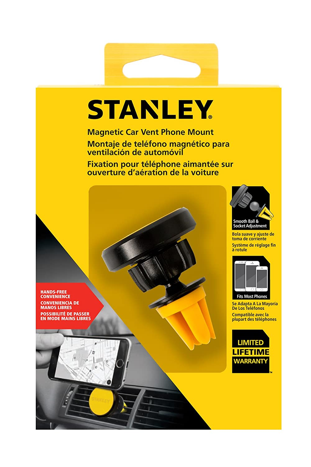 Amazon.com: STANLEY Hands-Free Rotatable Magnetic Car Vent Clip-On Universal Phone Mount, Fits All Phones: Cell Phones & Accessories