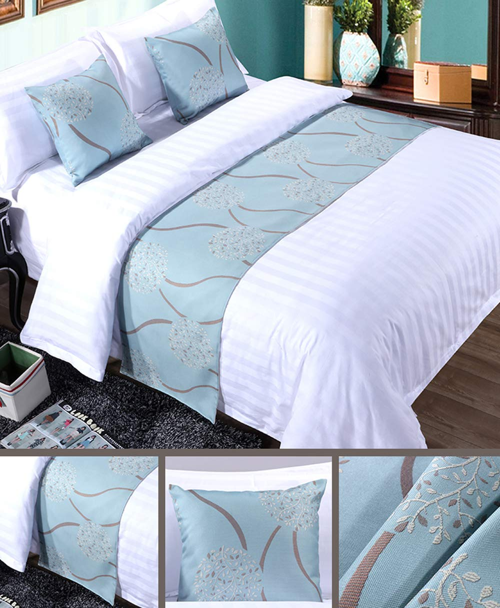Mengersi Rippling Bed Runner Scarf Protector Slipcover Bed Decorative Scarf for Bedroom Hotel Wedding Room (King, Blue) by Mengersi (Image #2)