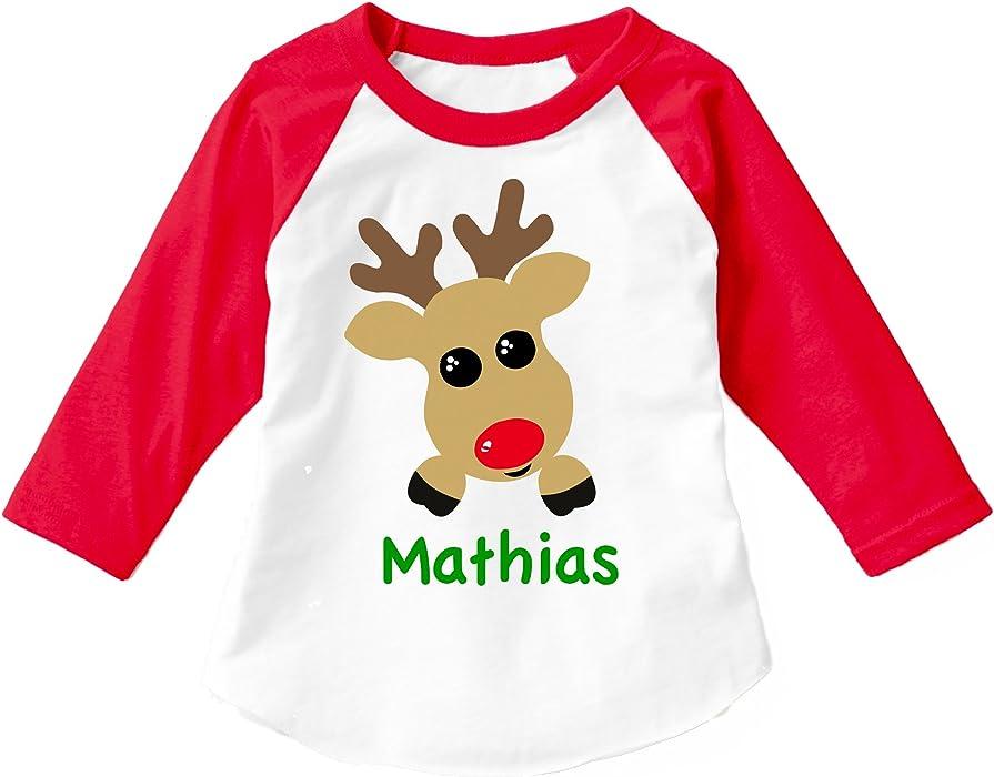 8582c8a82 Personalized Reindeer BOY Christmas Shirt ADD A Name Child 3/4 Sleeve  Raglan (2T