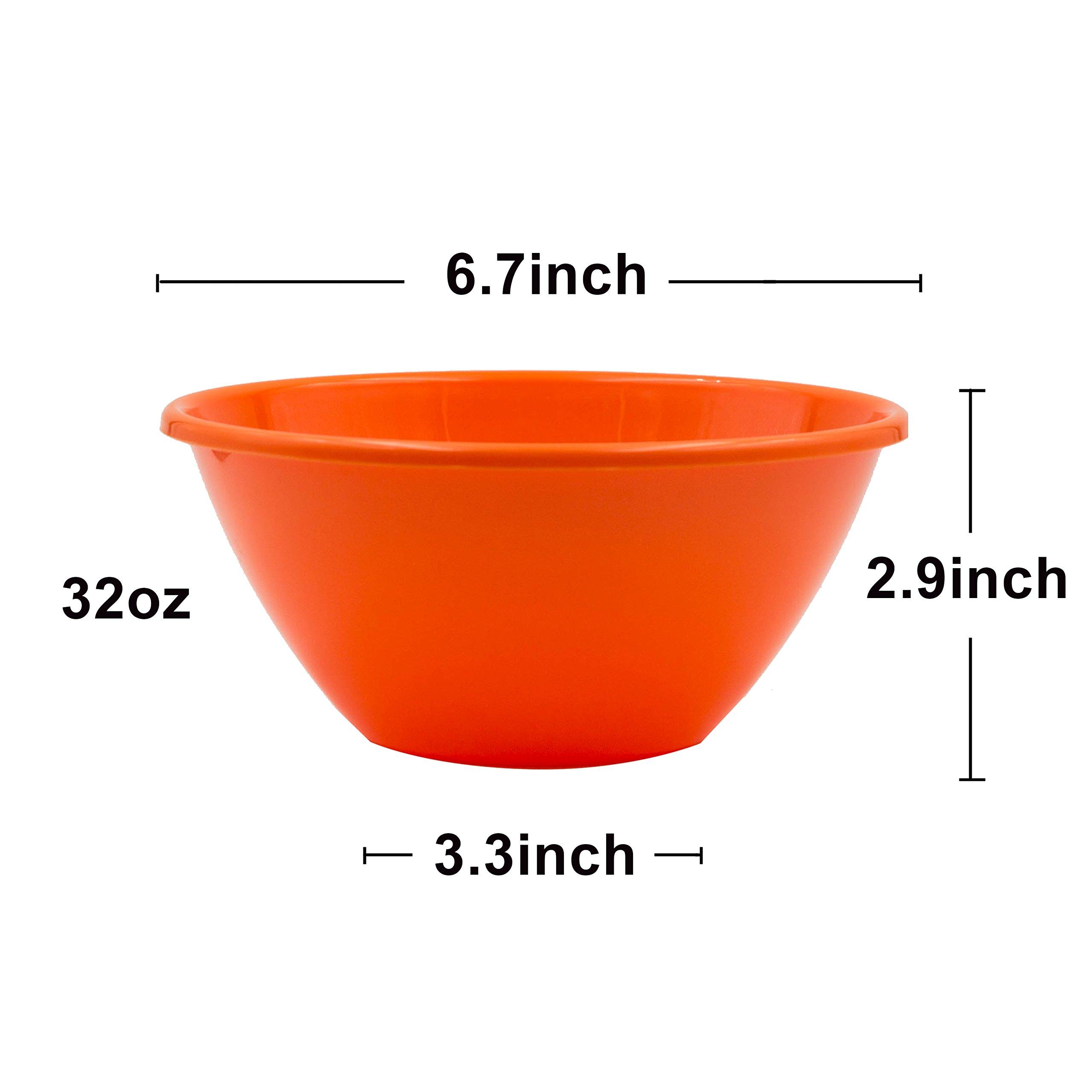 Youngever 32 ounce Plastic Bowls, Large Cereal Bowls, Large Soup Bowls, Microwave Safe, Dishwasher Safe, Set of 9 in 9 Assorted Colors by Youngever (Image #3)