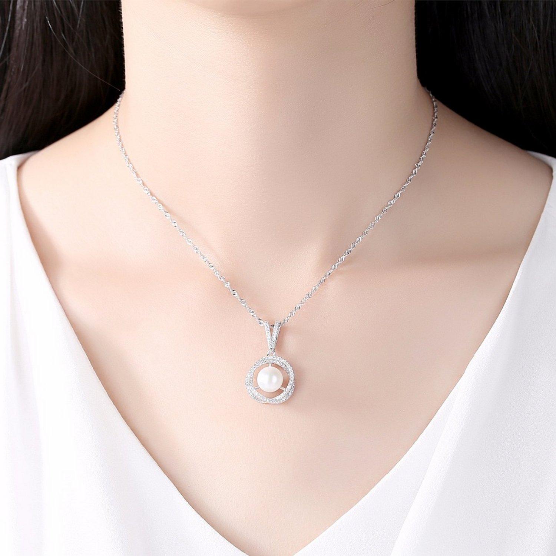 CS-DB Pendants Elegant Pearl Silver Necklaces