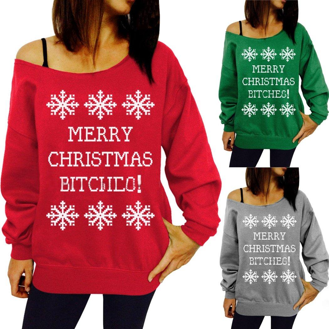 3abd022e6ab Naggoo Women's Merry Christmas Bitches Off The Shoulder Sweatshirt at  Amazon Women's Clothing store: