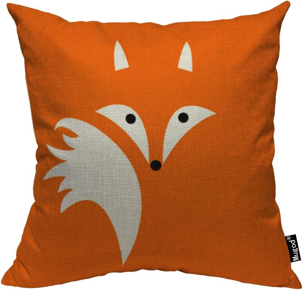 Mugod Fox Throw Pillow Case Cute Fox Face Hairy Tail Bohemian Orange Black and White Decorative Cotton Linen Square Cushion Covers Standard Pillowcase Couch Sofa Bed Men/Women 18x18 Inch