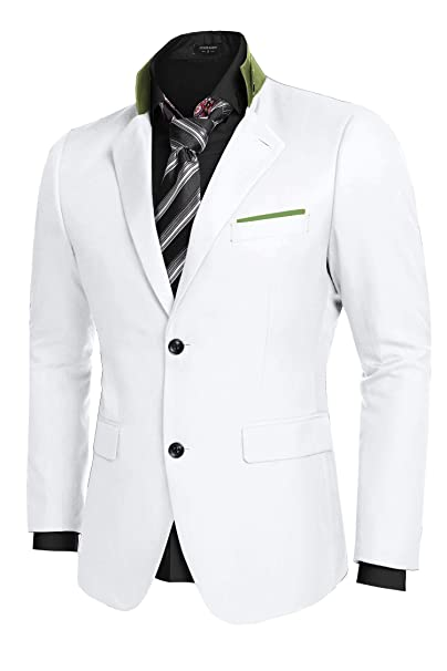 JINIDU Mens Slim Fit Stylish Casual Two-Button Suit Coat Jacket Business Blazers