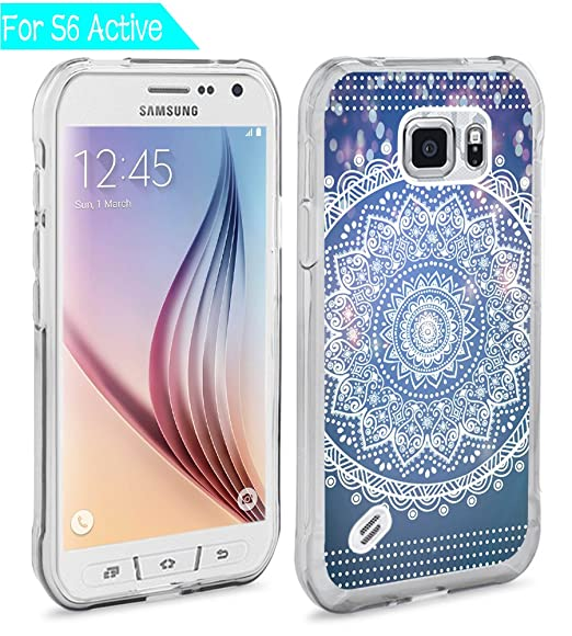 new concept 2ceaf c8b02 S6 Active Case India Mandala,Ecute S6 Active Soft Slim Flexible Clear  Rubber Side + Style Hard Back Case for Samsung Galaxy S6 Active - Dreamlike  ...