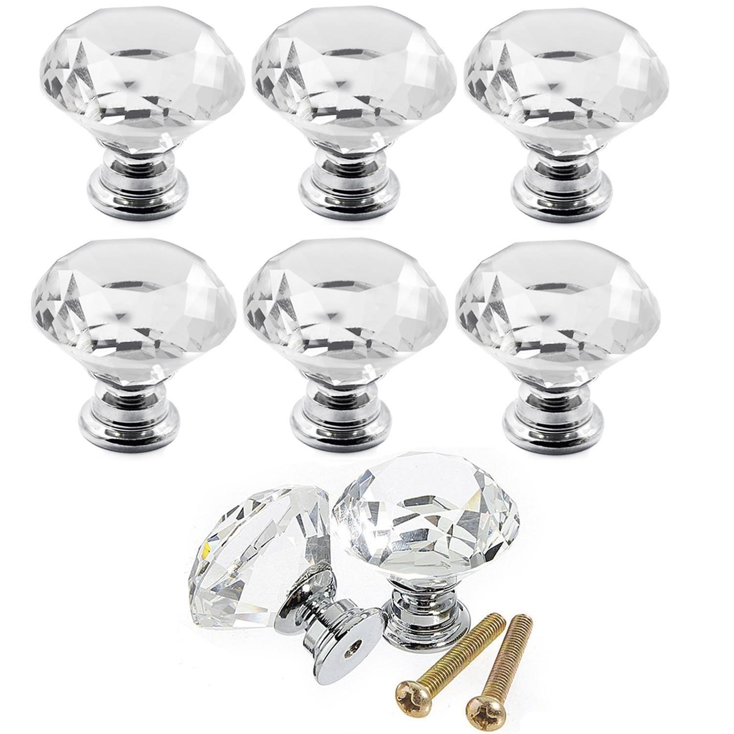 Boxcute 10x 30 mm Diamond Crystal Moebe Lknoepfe Furniture Handle Furniture Knob Glass Door Cupboard Knobs