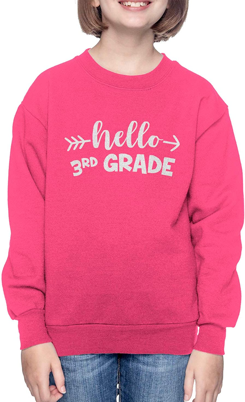 Pink, Medium HAASE UNLIMITED Hello 3rd Grade Back to School Youth Fleece Crewneck Sweater