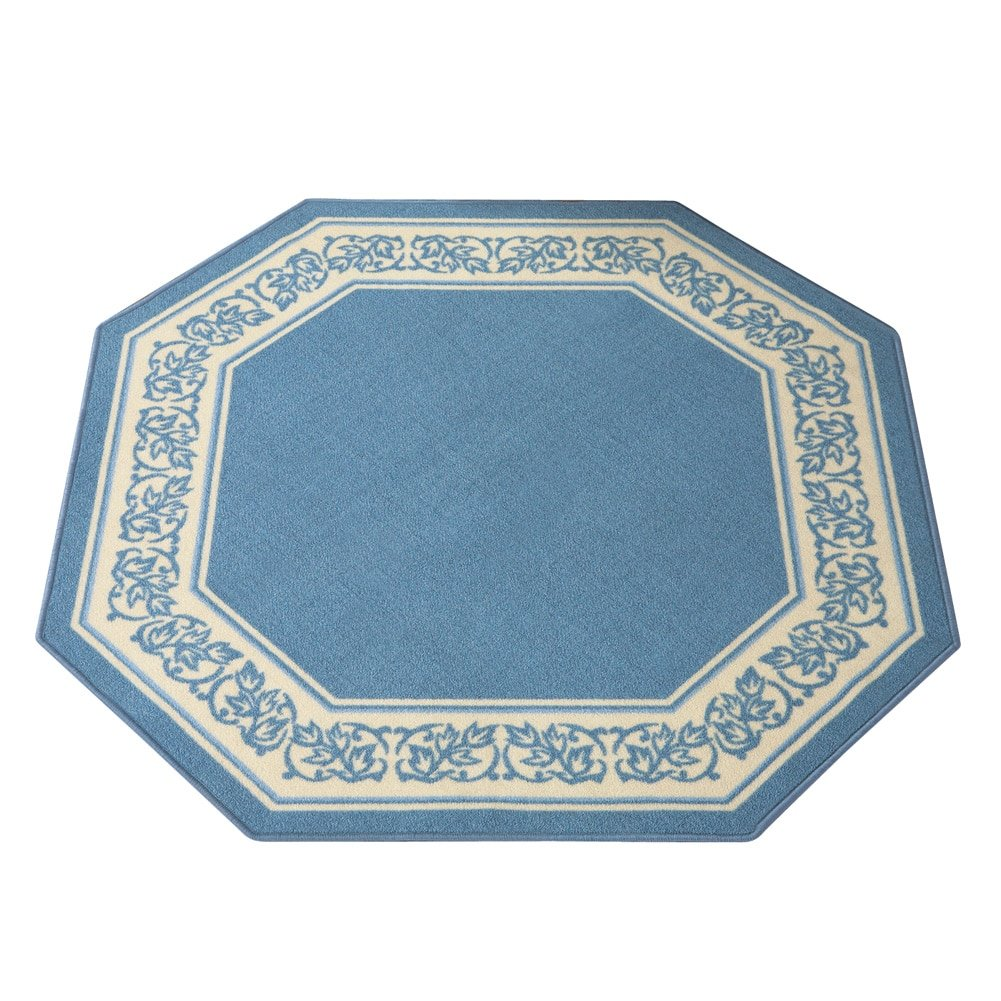 Collections Etc Floral Border Octagon Rug, Blue, 54 X 54 54 X 54